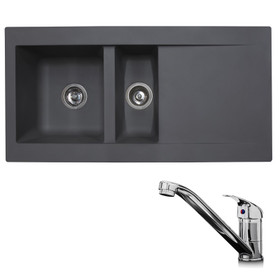 SIA 1.5 Bowl Grey Composite Reversible Inset Kitchen Sink & KT1 Chrome Tap
