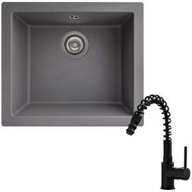 SIA EVOGR 1.0 Bowl Grey Composite Undermount Kitchen Sink & KT7BL Pull-out Tap