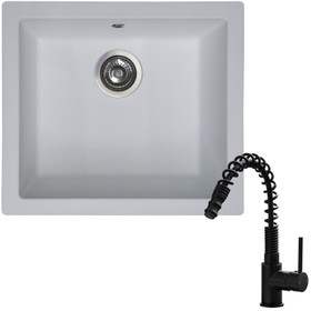 SIA EVOWH 1.0 Bowl White Composite Undermount Kitchen Sink & KT7BL Pull-out Tap