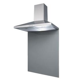 SIA 70cm Stainless Steel Chimney Cooker Hood & Grey Toughened Glass Splashback