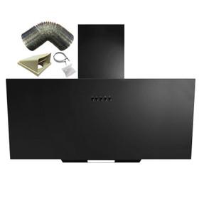 SIA AH70BL 70cm Black Angled Glass Chimney Kitchen Cooker Hood Fan & 3m Ducting