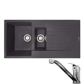 Reginox Hampton 1.5 Bowl Grey Silvery Inset Granite Kitchen Sink & KT1 Tap