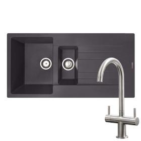 Reginox Hampton 1.5 Bowl Grey Silvery Inset Granite Kitchen Sink & KT3BN Tap