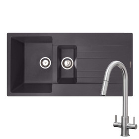 Reginox Hampton 1.5 Bowl Grey Silvery Granite Kitchen Sink & KT4BN Pull-out Tap