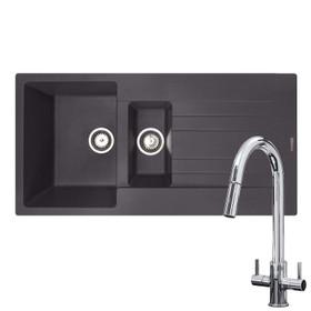 Reginox Hampton 1.5 Bowl Grey Silvery Granite Kitchen Sink & KT4CH Pull-out Tap