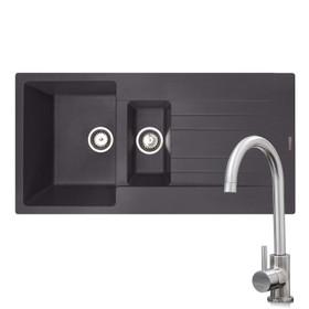 Reginox Hampton 1.5 Bowl Grey Silvery Inset Granite Kitchen Sink & KT6BN Tap