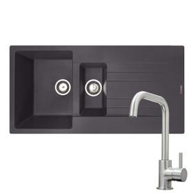 Reginox Hampton 1.5 Bowl Grey Silvery Inset Granite Kitchen Sink & KT6BND Tap