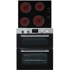 SIA 60cm Stainless Steel Double Built Under Fan Oven & 4 Zone Touch Ceramic Hob