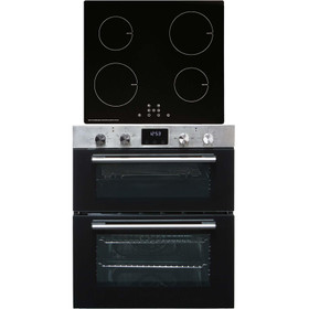 SIA 60cm Stainless Steel Double Built Under Oven & 4 Zone Touch Induction Hob