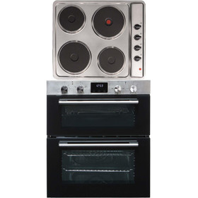 SIA 60cm Stainless Steel Double Built Under Fan Oven & 4 Zone Plate Electric Hob