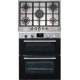 SIA 60cm Stainless Steel Built Under Oven, 5 Burner Gas Hob & Cast Iron Stands