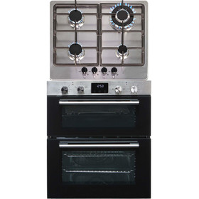 SIA 60cm Stainless Steel Built Under Double Electric Oven & 4 Gas Burner Hob