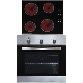 SIA SO113SS 60cm Stainless Steel Single Oven & 4 Zone Touch Control Ceramic Hob