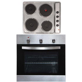SIA SO113SS 60cm Stainless Steel Single Fan Oven & 4 Zone Solid Plate Hob