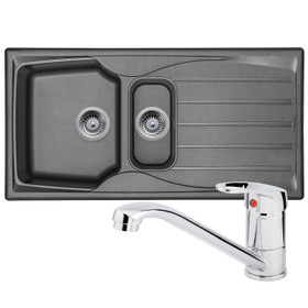 Astracast Sierra 1.5 Bowl Graphite Grey Kitchen Sink And Franke Zeno Mixer Tap