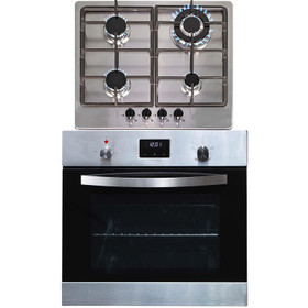 SIA 60cm Stainless Steel Digital Electric Single Fan Oven And 4 Burner Gas Hob
