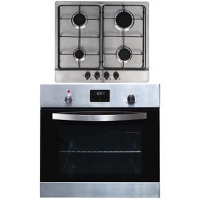 SIA 60cm Stainless Steel Digital Electric Single Fan Oven & 4 Burner Gas Hob