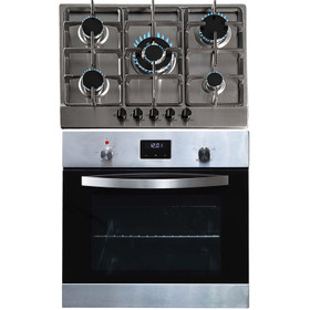 SIA SO114SS 60cm Stainless Steel Digital Electric Single Fan Oven & 70cm Gas Hob