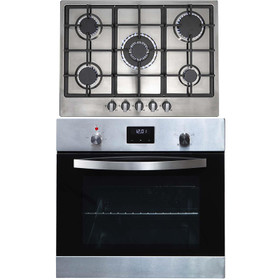 SIA 60cm Stainless Steel Digital Electric Single Fan Oven & R6 70cm Gas Hob
