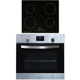 SIA 60cm Stainless Steel Digital Electric Single Fan Oven & 4 Zone Induction Hob