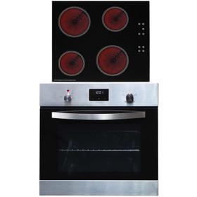 SIA 60cm Stainless Steel Digital Electric Single Fan Oven & 4 Zone Ceramic Hob