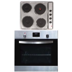 SIA 60cm Stainless Steel Digital Electric Single Fan Oven & 4 Zone Plate Hob