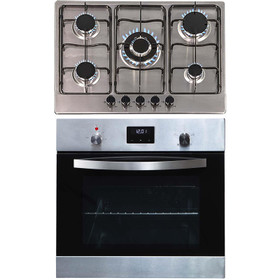 SIA SO114SS 60cm Stainless Steel Electric Digital Single Fan Oven & 70cm Gas Hob