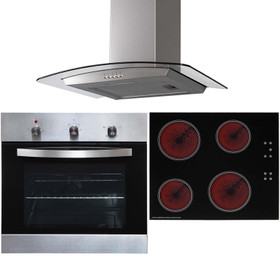 SO113SS 60cm Stainless Steel Single Oven, 4 Zone Touch Ceramic Hob & Curved Hood