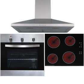 SO113SS 60cm Stainless Steel Single Oven, 4 Zone Touch Ceramic Hob & Extractor
