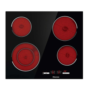 Hisense E6432C Black 60cm 4 Zone Touch Control Ceramic Hob With Child Lock