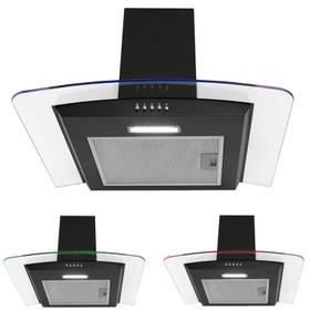 Montpellier MHE600LBK 60cm Black 3 Colour Edge Lit Curved Glass Cooker Hood Fan
