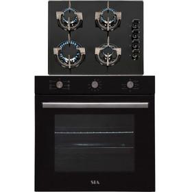 SIA 60cm Black Built In 71L Electric Single Fan Oven & 4 Burner Gas On Glass Hob