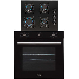 SIA 60cm Black Built In 71L Electric Single Fan Oven & 4 Burner Glass Gas Hob
