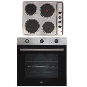 SIA 60cm Stainless Steel Built In Electric Single Fan Oven & 4 Zone Plate Hob