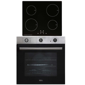 SIA 60cm Stainless Steel 71L Electric Single Fan Oven & 4 Zone Induction Hob