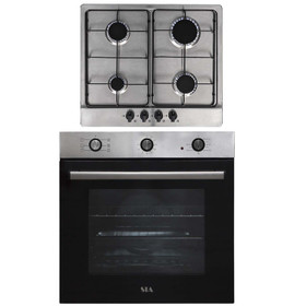 SIA 60cm Stainless Steel Electric Built-in Single Fan Oven & 4 Burner Gas Hob