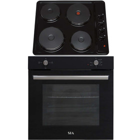 SIA 60cm Black Built In 75L Electric Single Oven & 4 Zone Solid Plate Hob