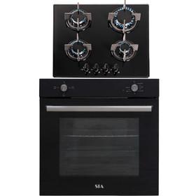 SIA 60cm Black Built In 75L Electric Single Oven & 4 Burner Gas On Glass Hob