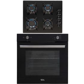 SIA 60cm Black Built In 75L Electric Single Oven & 4 Burner Glass Gas Hob