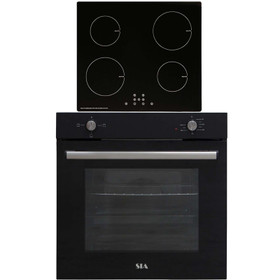SIA SSO10BL 60cm Black Built In 75L Electric Single Oven & 4 Zone Induction Hob