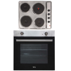 SIA 60cm Stainless Steel Built In Electric Single Oven & 4 Zone Solid Plate Hob