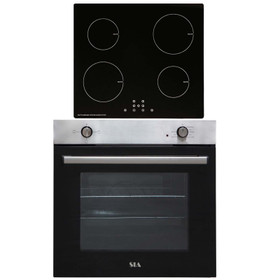 SIA 60cm Stainless Steel Built In Electric Single Oven & 4 Zone Induction Hob