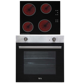 SIA 60cm Stainless Steel Built In 75L Electric Single Oven & 4 Zone Ceramic Hob