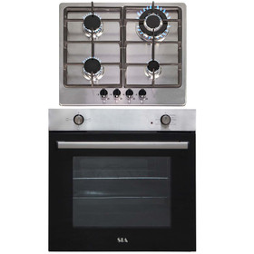 SIA 60cm Stainless Steel Built In 75L Electric Single Oven & 4 Burner Gas Hob