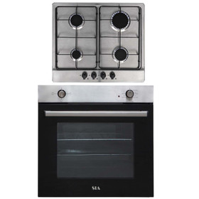 SIA 60cm Stainless Steel 75L Built In Electric Single Oven & 4 Burner Gas Hob
