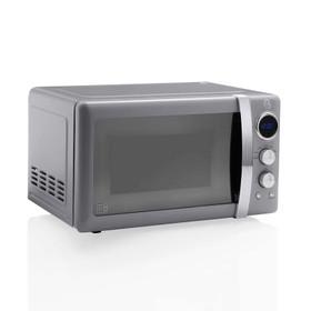 Swan SM22030GRN Grey 20L 800W 1950's Retro-Style Digital Microwave Oven