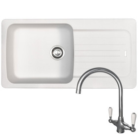 Franke Aveta 1.0 Bowl White Tectonite Kitchen Sink And Reginox Elbe Mixer Tap