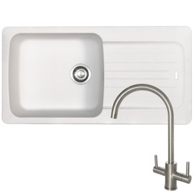 Franke Aveta 1.0 Bowl White Tectonite Kitchen Sink &Reginox Genesis Kitchen Tap
