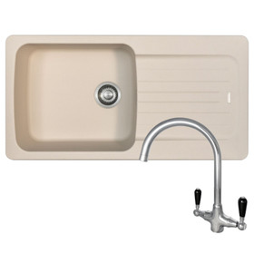 Franke Aveta 1.0 Bowl Cream Tectonite Kitchen Sink & Reginox Brooklyn Mixer Tap