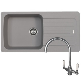 Franke Aveta 1 Bowl Stone Grey Tectonite Kitchen Sink & Reginox Elbe Chrome Tap